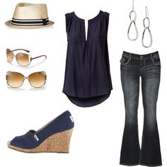 Navy, wedges, jeans