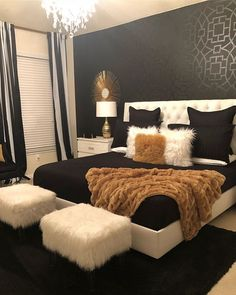 We love this luxurious bedroom by Shante' Gantt and the subtle shimmer of her Tea House Trellis Stencil on the black accent wall. Buy the stencil here: www.cutt... | White And Gold Bedroom Tumblr | White And Black Bedroom Ideas | White Bedroom Tumblr. #homedecor #Inspiration