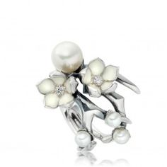 designer Shaun Leane ~ Pearl - Diamond and Enamel abstract ring ~ Magnificent!!
