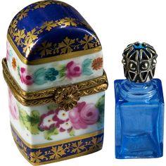 Limoges Hand Painted Single Blue Perfume Bottle Trinket Box