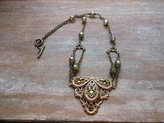 Victorian Swarovski Olive Rhinestone Brass Filigree Necklace ~ Olivine Ice Green Czech Bead Jewelry ~ Green Wedding Necklace ~ Handmade by BackAlleyDesignsINK on Etsy