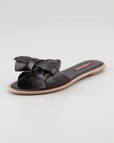 Leather Bow Slide Sandal, Black by Prada at Neiman Marcus.