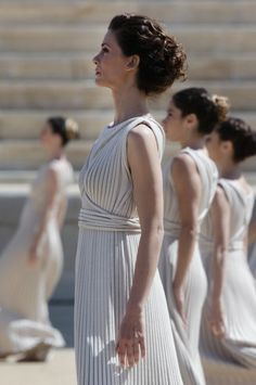 Lit of the Olympic Flame for the 2014 Youth Olympic Games. High priestess Katerina Lehou at the ceremony along with the rest of the Olympic Priestesses. Ancient Greece Facts, Greek Hair, Youth Olympic Games, Olympic Flame, Greek Beauty, Beauty Women, Olympics, One Shoulder Wedding Dress, Most Beautiful