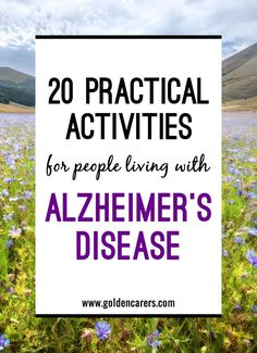 20 activities for the elderly with dementia. The following ideas may be used on a one-to-one basis and others may be suitable for small groups depending on their abilities. These dementia activities are designed to promote and maintain existing skills.