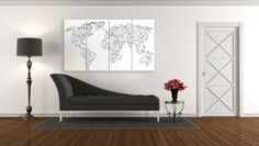 Large abstract geometric map of the world, black and white world map