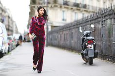 How French Girls Do Street Style For Fashion Week  #refinery29  http://www.refinery29.com/2016/03/105661/paris-fashion-week-fall-winter-2016-street-style-pictures#slide-1  The matching set, elevated....