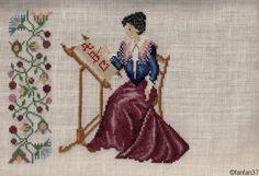 0 point de croix femme brodant - cross stitch  lady  embroidering