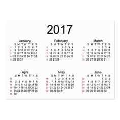 52 Week 2017 White Calendar by Janz Business Cards