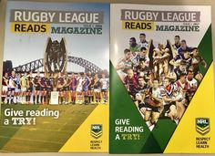 Good chat with @NRL @bohan_mark today on the community work they do with school kids. These 'RL Reads' mags + teaching space are outstanding