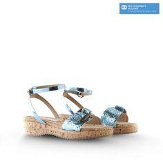 Stella McCartney Kids: Linda Glitter Sandals- Turquoise (Maleficent)
