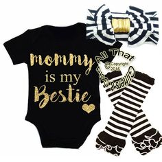 Baby Set Striped Newborn Baby Kids Girls Mommy Is My Bestie Black Headbands+ Rompers+Striped Leg Warmer Outfits Set M - Kid Shop Global - Kids & Baby Shop Online - baby & kids clothing, toys for baby & kid Baby Set, Baby Outfits, My Baby Girl, Baby Girl Newborn, Baby Girl Items, Baby Girl Fashion, Kids Fashion, Latest Fashion, Style Fashion