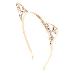 Rose Gold Crystal Cat Ear Headband | Claire's