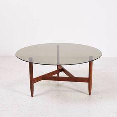MK4174  Füstüveg dohányzóasztal geometrikus teak lábon /// Coffeetable with glass top and teak legs  Méretek /// Dimensions: 99x47x99 cm  90.000.-Ft /// 300 EUR