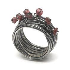 Oxidised Wrapped Garnet Ring By Disa Allsopp