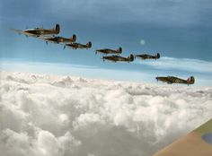5 October 1940 A formation of Hawker Hurricane Mk.Is of Squadron RAF based at Church Fenton in Yorkshire, climbs above the clouds, led by Squadron Leader Peter Wooldridge Townsend. Aircraft Photos, Ww2 Aircraft, Fighter Aircraft, Military Aircraft, Air Fighter, Fighter Jets, Raf Bases, The Spitfires, Hawker Hurricane