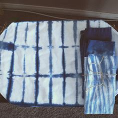 Hand-dyed shibori placemats and napkins from etsy shop Lyla Lotus