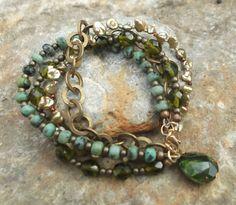 Turquoise & Pearl Multi Strand Bracelet by CarolineCjewellery, £25.00 (looking-glass-jewellery.com Etsy shop)