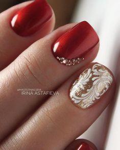 Simple Winter Nails Red Colors For Short Nails Art Designs - - - Ol - Xmas Nails, Prom Nails, Christmas Nails, Holiday Nails, Gold Nail Designs, Pretty Nail Designs, Gorgeous Nails, Pretty Nails, Simple Elegant Nails