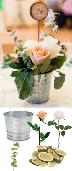 Recreate this adorable tin bucket centerpiece with products from Afloral.com. #diywedding
