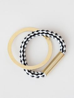 I need this in my life: Handmade woven and metal oval bangle bracelet, by NYC based label FAUX/real.