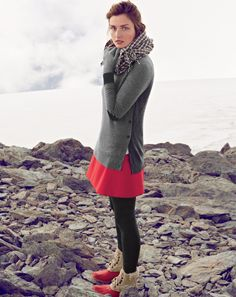 J.Crew side button sweater, fluted skirt in double crepe and the wool houndstooth scarf.