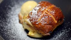 Pastry chef Darren Purchese's hot cross bun bread and butter pudding recipe for Easter.