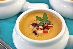 The Café Sucré Farine: Smokey Cheddar/Apple Soup with Apple Calvados-Cranberry Garnish