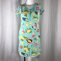 NWOT Nick   Nora Nightgown Sleep Shirt M Blue Yellow Lemons Pink Lemonade   NickNora  Sleepshirt  Everyday c41d55dc1