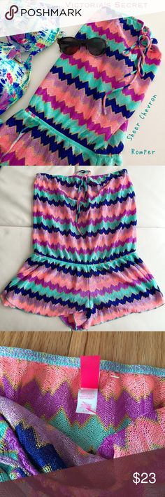 Victoria Secret Sheer Chevron Romper NWOT Perfect for the beach or bedtime, colors have metallic sheen to it. New without tags. Size Large. Victoria's Secret Swim Coverups