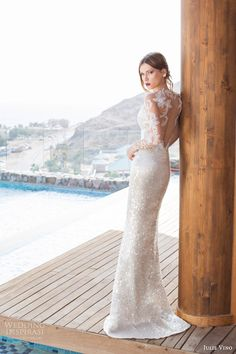 julie vino bridal spring 2014 orchid collection goldie wedding dress long sleeves illusion back