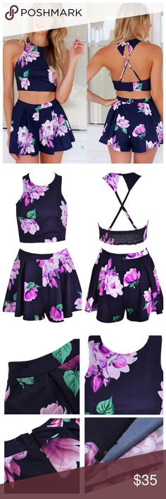 ️‼️SALE‼️Sexy Floral Halter and Shorts PolyesterNavy Blue with purple/green floral patternHalter Top nears mid navalRazor Criss Cross Backhigh-waisted shorts with zipper in backApproximate measurements shown in photo, please compare to a similar item that fits you well to ensure the correct size. If in doubt, order up. CFT Shorts