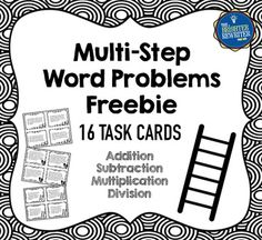 These 16 multi-step word problems are a mix of addition, subtraction, multiplication, and division, all written using whole numbers. They are examples from each set of my two-step and multi-step word problem resources. Great for centers, small groups, or whole class activities!Here is what you get when you purchase this resource:16 Multi-Step Word Problems task cards (4 pages of 4 cards each) Answer key (1 page)Uses for task cards (1 page)TOU & Credits (1 page)Id appreciate your rating an...