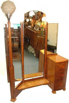 Art Deco vanity.  A vanity that comes with it's own lamp post.  Odd . . .