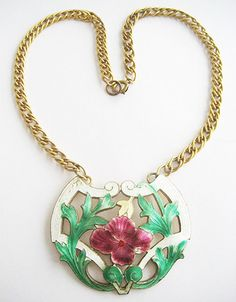 ENAMEL Flower NOUVEAU Style NECKLACE