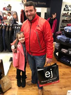 Christmas Comes Early For The Coughlans! Pictured is our Ted Smith Competition Winner Peter Coughlan and his daughter Aoibheann after calling in to pick up his Christmas outfit! Congrats Peter from all at EJ's! Competition Time, Ted, Bomber Jacket, Menswear, Daughter, Christmas, Jackets, Outfits, Fashion