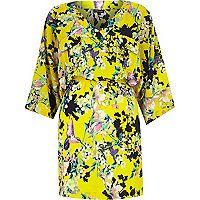 Yellow crepe floral print kimono dress £35.00 #riverisland