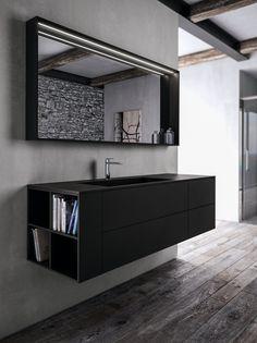 Mueble de baño simple suspendido de Fenix-NTM® SENSE 04 Colección Sense by IdeaGroup | diseño Aqua