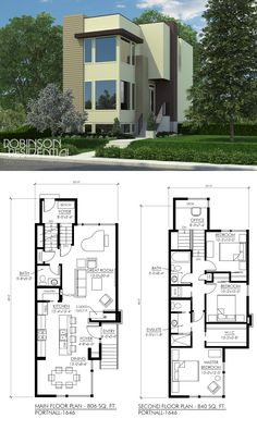High Quality Simple 2 Story House Plans  3 Two Story House Floor     Contemporary Portnall 1646  Modern house plansSmall