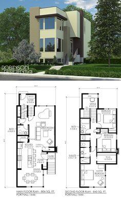 1646 sq. ft., (182.88m2) 3 bedroom, 2.5 bath. #twostoreyhomeplans