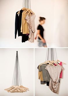 Made of 20 common wood hangers and black ropes, this wardrobe aims to show how everyday goods used in their ordinary function can be transformed into a new concept. Exploring and expanding an existing object to create a new way to manage small spaces results in a functional and simple creation.