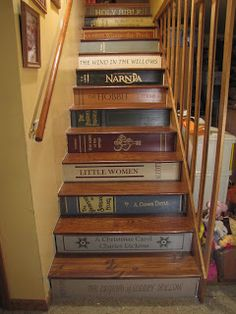 Bookcase Stairs Fresh Musing From An Imperfect Mom Of 12 Bookshelf Stairs Book Staircase, Staircase Design, Bedroom Designs For Couples, Bedroom Ideas, Stair Art, Small Bedroom Organization, Headboard With Shelves, Stair Stickers, Bookshelves Built In
