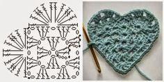 Crochet Heart pattern (based on granny square) Crochet Diy, Crochet Motifs, Granny Square Crochet Pattern, Crochet Diagram, Crochet Chart, Crochet Squares, Crochet Gifts, Irish Crochet, Crochet Stitches