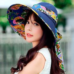 3b5c758e5d393 Protection sun hats flower printed wide brim hat for women