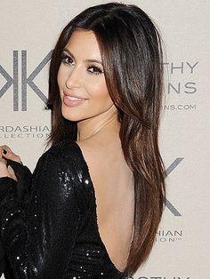 kim kardashian with straight hairstyle -cosmopolitan uk