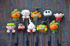 Pack of 10 Halloween Black Pens Cute Polymer by MonPetitPapier, $45.00
