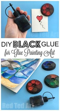 """How to make Black Glue - DIY Black Glue is really quick and easy to make and is perfect for Black Glue and Watercolor resist art - or also known as """"faux Stained Glass"""" Art projects. It is  a wonderful art medium, that looks fantastic. Great for grown ups and kids. My 7yrs old was so excited she started working on her own project straight away! We love Black Glue DIY!"""