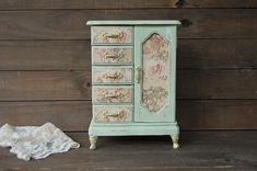 French toile jewelry armoire
