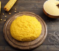 top view polenta on wooden table rustic background