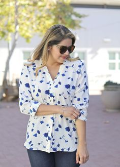 Refresh your summer look with our Parisian inspired blue and white floral print blouse. We're definitely taking a fashion cue from @LilBitsofPau   Banana Republic