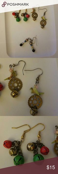 3 pair Handmade dangling earrings All handmade earrings. One pair steampunk inspired with paper cranes, next a pair with 3 sets of working bells, and finally starting a very elegant muted colour set. Not likely to be hypoallergenic. Jewelry Earrings